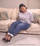 Black Girl Hogtied in jeans