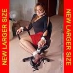 Black girl chair-tied in hose & heels